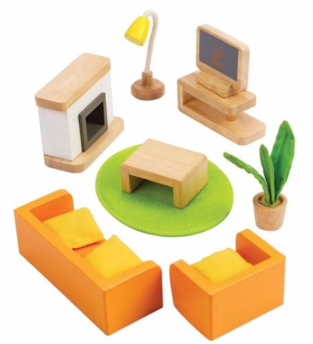 Hape houten poppenhuis meubels Woonkamer-2