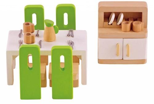Hape houten poppenhuis meubels Eetkamer-1