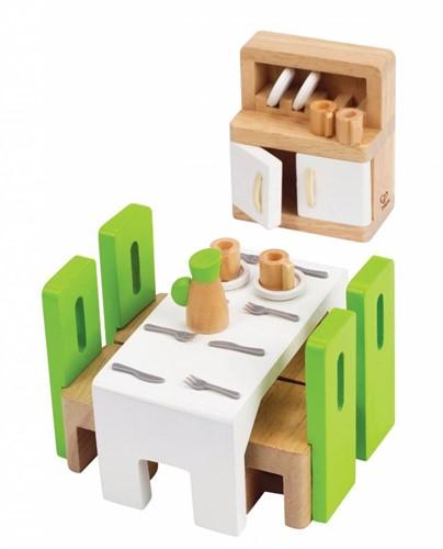Hape houten poppenhuis meubels Eetkamer