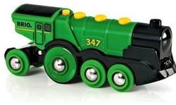 Brio  houten trein locomotief groot batterij groen 33593