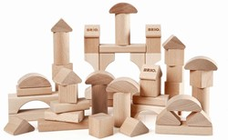 Brio  houten bouwblokken 50 blank 30113