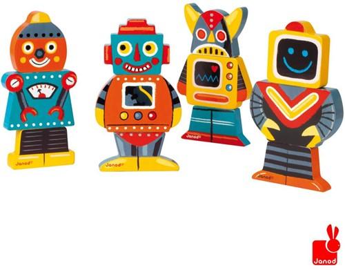 Janod  houten stapelfiguur Funny magnets robot-2