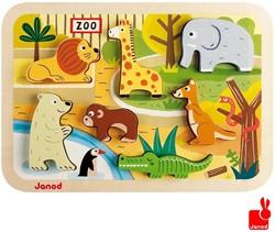 Janod  houten vormenpuzzel Chunky puzzel dierentuindieren