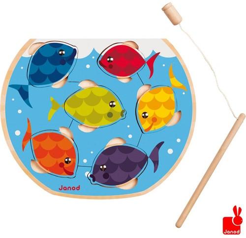 Janod  houten vormenpuzzel kinderspel vissen vangen-1