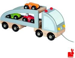 Janod  houten trekfiguur Vrachtwagen 3 auto's