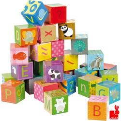 Janod  houten blokpuzzel Kubkid 32 blokken alfabet