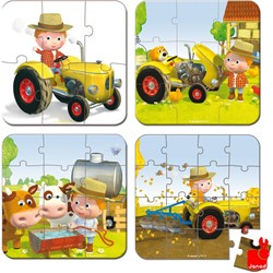 Janod  legpuzzel Koffer Fleurus Peter's tractor - 6, 9, 12 en 14 stukjes