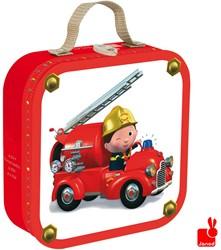 Janod  legpuzzel Koffer Leon's brandweerwagen - 6, 9, 12 en 14 stukjes