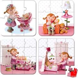 Janod  legpuzzel Koffer Fleurus Lilou's poppen - 6, 9, 12 en 14 stukjes