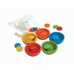 Plan Toys  houten kinderspel Sort & Count Cups 5360