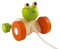 Plan Toys  houten trekfiguur Jumping frog