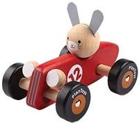 Plan Toys rode houten raceauto Konijn