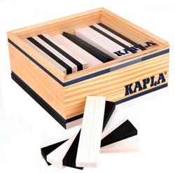 Kapla  houten bouwplankjes 40 zwart en wit in kistje