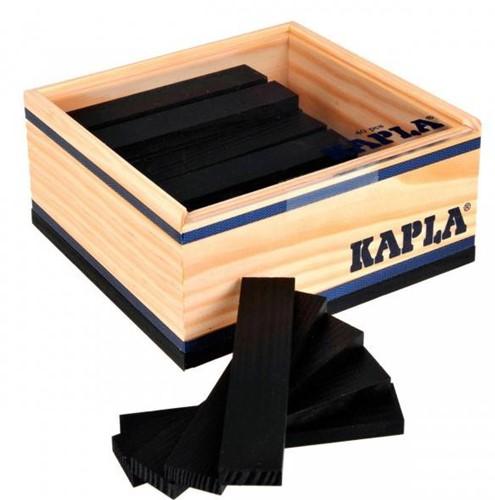 Kapla  houten bouwplankjes 40 zwart in kistje