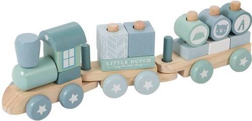 Little Dutch houten Blokkentrein blauw
