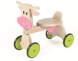 Scratch  houten loopfiets 4-wheel walker Koe
