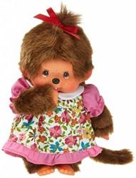 Monchhichi  knuffelpop Meisje Bloemenjurk - 20 cm