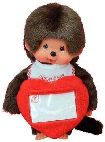 Monchhichi  knuffelpop Jongen met Liefdeshart - 20 cm