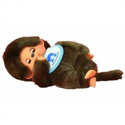 Monchhichi  knuffelpop Jongen Slaapogen met slab Blau - 20 cm