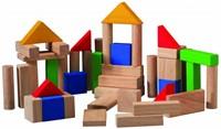 Plan Toys 50 gekleurde houten blokken