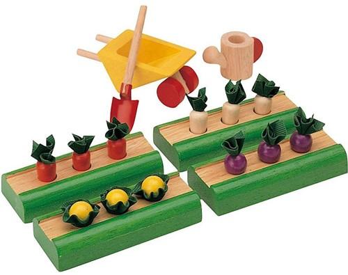 Plan Toys houten poppenhuis accessoire groentetuin.