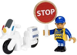 Brio  houten trein accessoire Politie motoragent