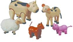Plan Toys  houten poppenhuis accessoire Boerderij dieren set