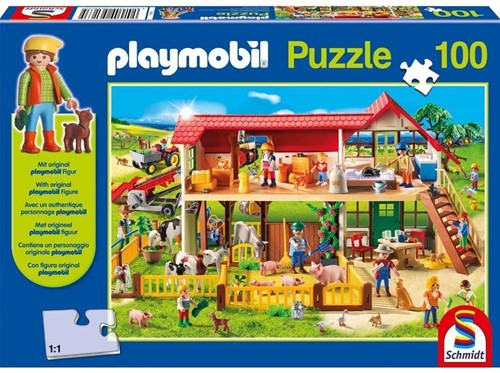 Schmidt legpuzzel Playmobil, Boerderij, 100 stukjes