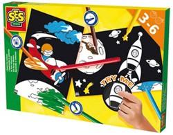 Ses knutselspullen Ik leer kleuren raket en vliegtuig