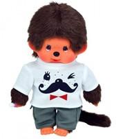 Monchhichi  knuffelpop Jongen Wit shirt met snor erop - 20 cm-1