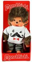 Monchhichi  knuffelpop Jongen Wit shirt met snor erop - 20 cm-2