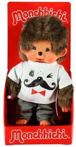 Monchhichi  knuffelpop Jongen Wit shirt met snor erop - 20 cm