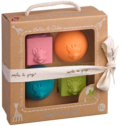 Sophie de giraf So'Pure set van 2 speelballen en 2 stapelblokken in mooi geschenk doosje