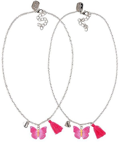 Souza - Sieraden - Necklace friendship Maryse, metal+butterfly coral-fuchsia