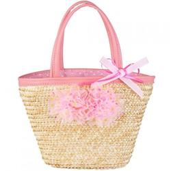 Souza Bag Xanthe, natuurlijk riet - roze bloemen (1 stuk)