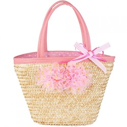 Souza - Sieraden - Bag Xanthe Pink, natural straw with pink flowers