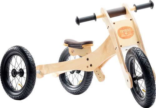 Trybike houten loopfiets 4-in-1 Bruin