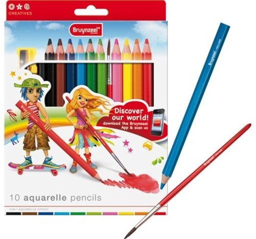 Bruynzeel  teken en verfspullen 10 aquarelle pencils 140261