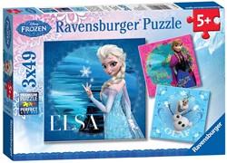 Ravensburger puzzel Disney Frozen Avontuur in Winterland - Drie puzzels - 49 stukjes - kinderpuzzel